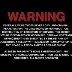 The FBI Warning menu screen that pops up after the audio preference selection at the start of the disc.