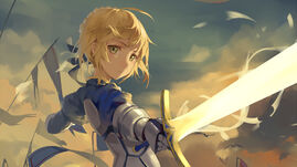 56032 fate stay night saber anime girls with swords