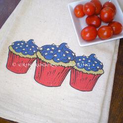 SALE Memorial Day Memorial Day Cupcakes flour sack towel ONE