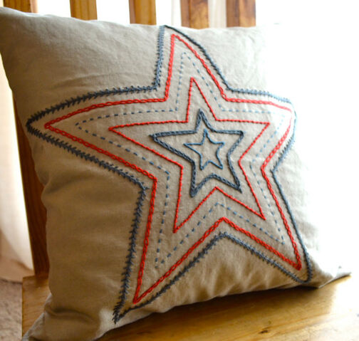 File:Red and Blue Concentric Star Hand Embroidered Pillow Cover.jpeg