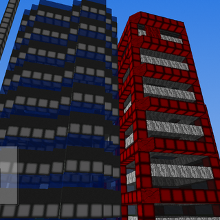 Two office skyscrapers: Left, Mooncrest Towers( first tower completed) and Right, Royalplex Tower