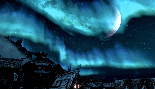File:Aurora & Half Moon Over Windhelm Skyrim.png