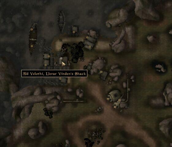 File:TES3 Morrowind - Ald Velothi - Llerar Vinden's Shack - location map.jpg