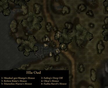 TES3 Morrowind - Hla Oad - locations map