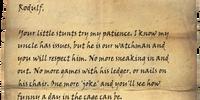 Note to Rodulf