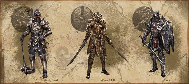 File:Redguard, Wood Elven, and Dark Elven heavy armor.jpg