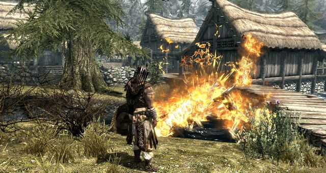 File:Skyrim Dragon attack at Riverwood 4.jpg