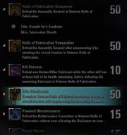 Halls of Fabrication Achievements - 2