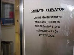 Sabbath Elevator sign