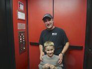 Me and Daniel in Elmwood garage elevator