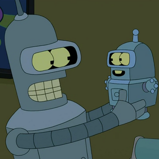 Bender holding his son