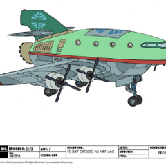 Planet Express Ship dressed as an airplane
