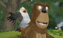 Gull hands out with Bigfoot