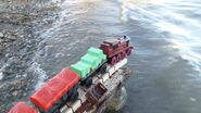 Pier rail crash Arthur dangling