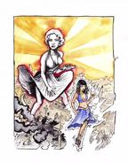 Cleopatra vs Marilyn Monroe Drawing