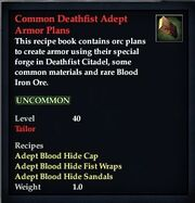 Common Deathfist Adept Armor Plans