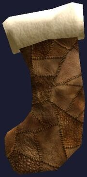 Patched leather stocking (Visible)