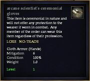 Arcane scientist's ceremonial gloves