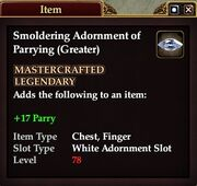 Smoldering Adornment of Parrying (Greater)