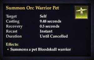Summon Orc Warrior Pet