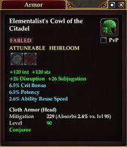 Elementalist's Cowl of the Citadel