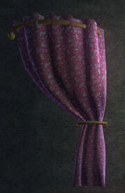 Flowered Purple Velvet Curtain Right Placed