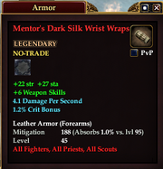 Mentor's Dark Silk Wrist Wraps