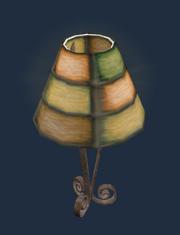 Ornate kunzite table lamp (Visible)