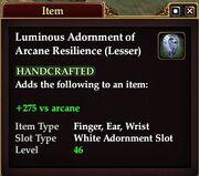 Luminous Adornment of Arcane Resilience (Lesser)