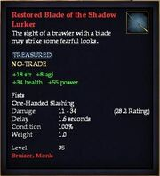 Restored Blade of the Shadow Lurker