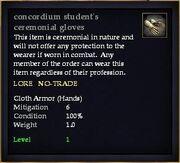 Concordium student's ceremonial gloves