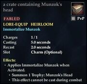 A crate containing Munzok's head