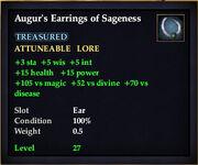 Augur's Earrings of Sageness