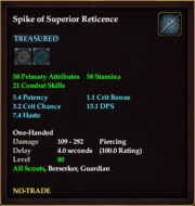 Spike of Superior Reticence