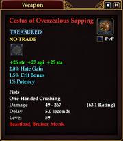 Cestus of Overzealous Sapping
