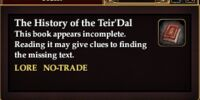 The History of the Teir'Dal (Quest Starter)
