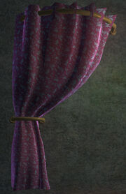 Flowered Purple Velvet Curtain Left Placed