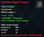Cold Fire Forged Greaves