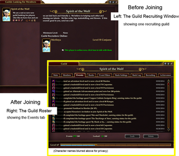 Guild Recuriting and Roster Windows