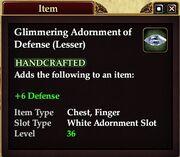 Glimmering Adornment of Defense (Lesser)