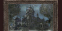 An oil painting of a castle
