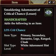 Smoldering Adornment of Critical Chance (Lesser)