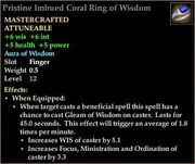 Pristine Imbued Coral Ring of Wisdom