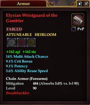 Elysian Wristguard of the Gambler