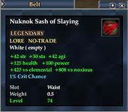Nuknok Sash of Slaying