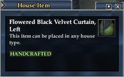Flowered Black Velvet Curtain, Left