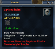 A pitted helm