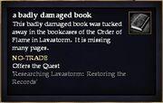 A badly damaged book