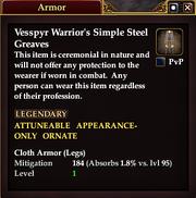 Vesspyr Warrior's Simple Steel Greaves