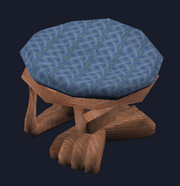 Padded mahogany stool (Visible)